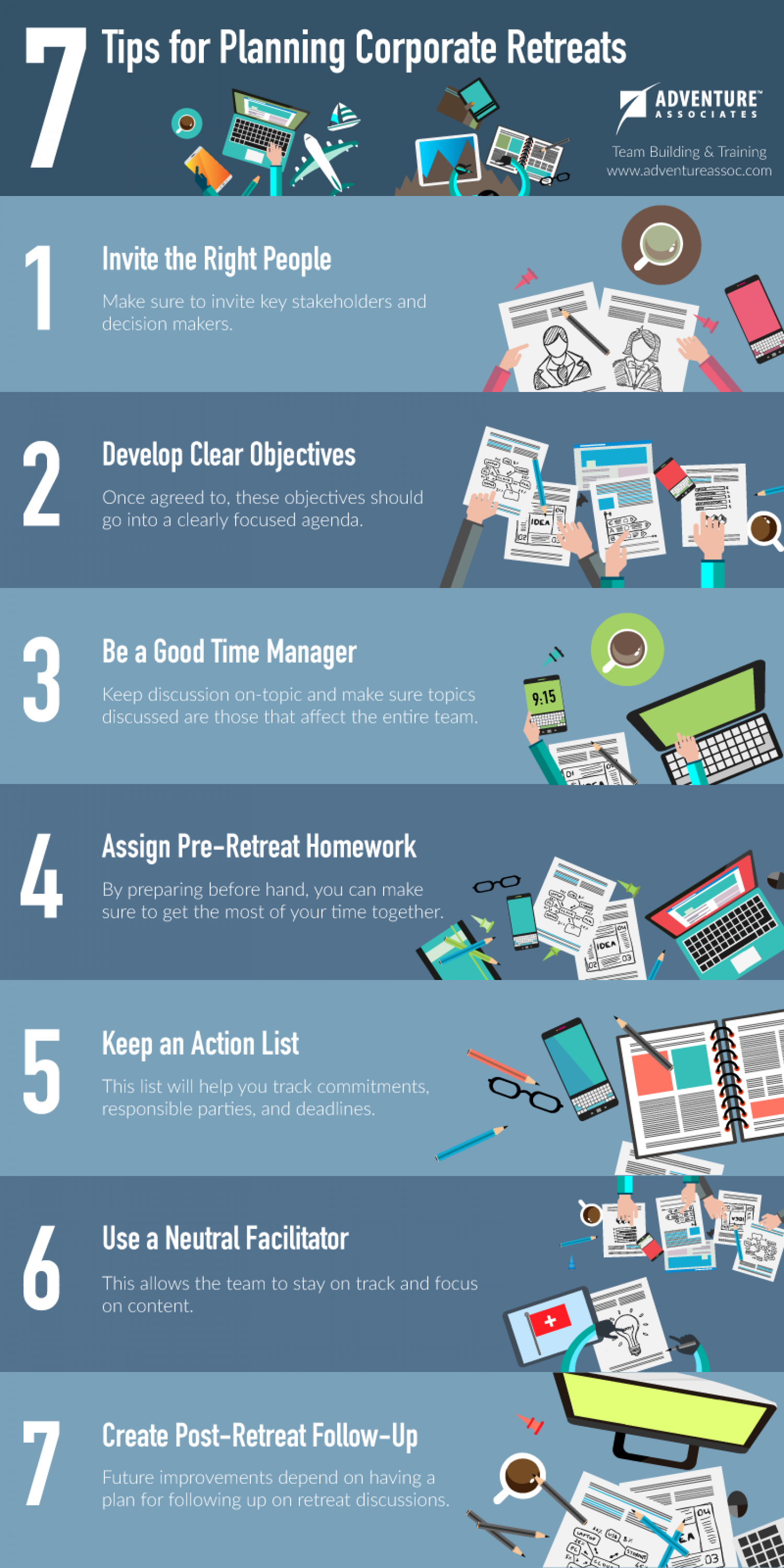 7 Tips for Planning a Corporate Retreat Infographic