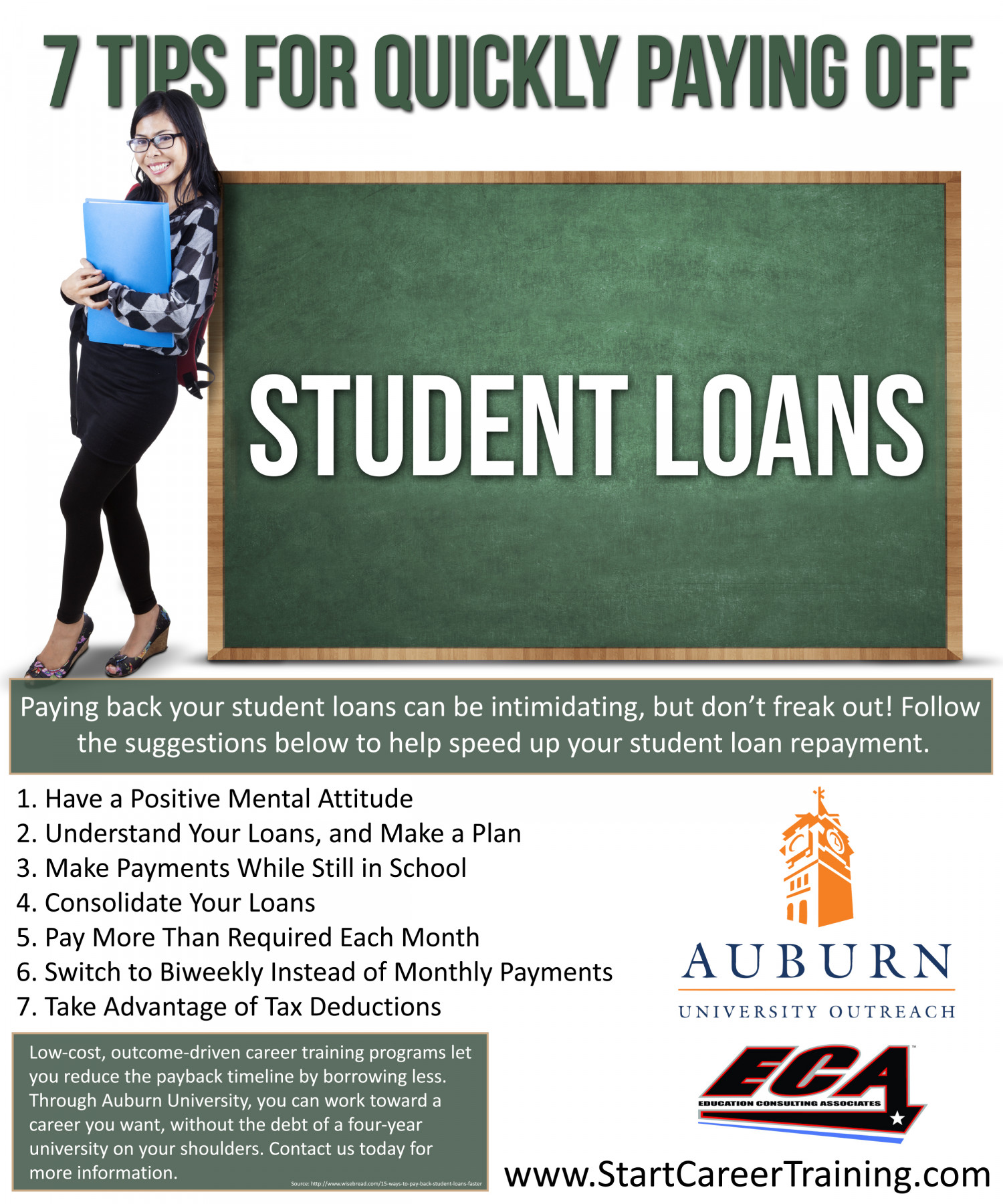 7 Tips for Quickly Paying off Student Loans Infographic