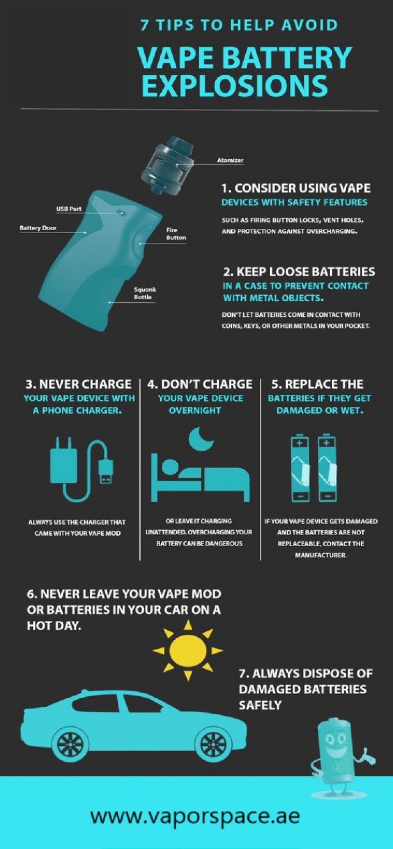 7 Tips to Help Avoid Vape Battery Explosions Infographic