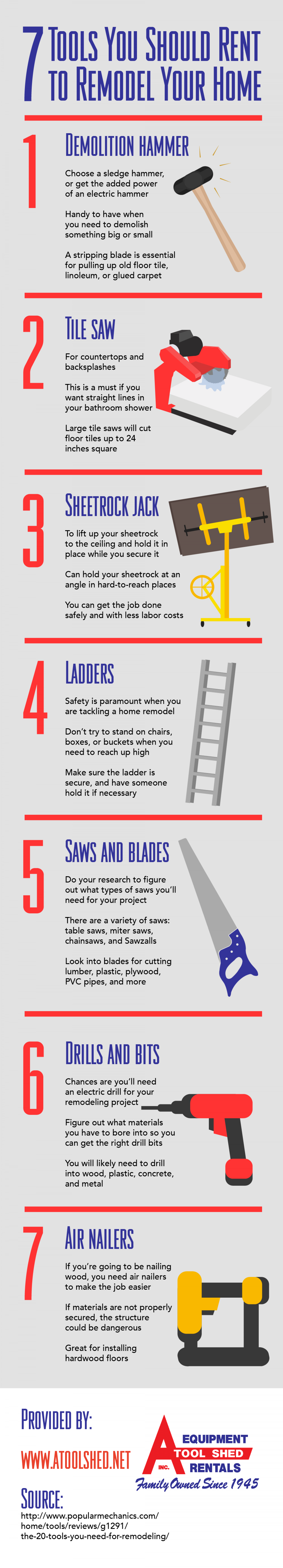 7 Tools You Should Rent to Remodel Your Home Infographic