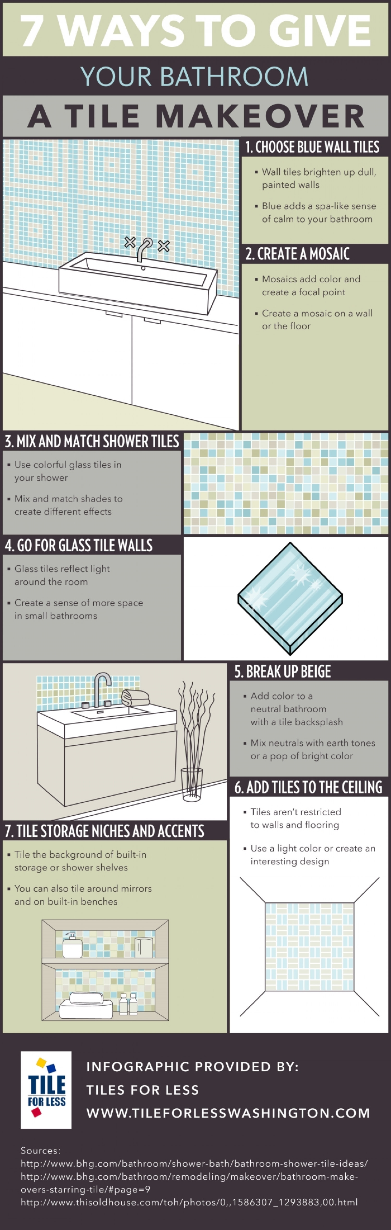 7 Ways to Give Your Bathroom a Tile Makeover  Infographic