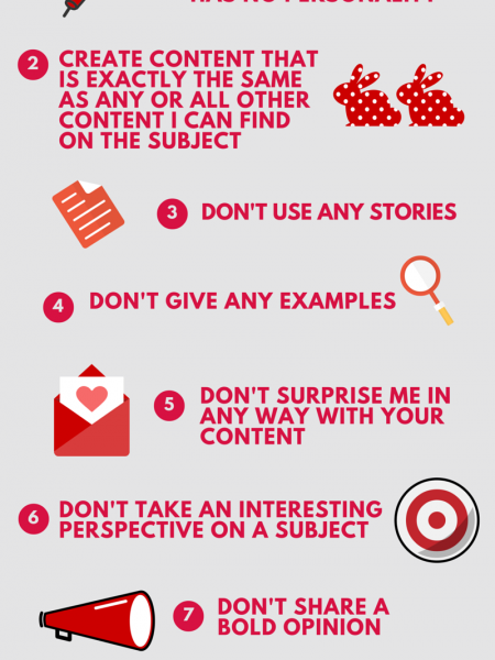 7 Proven Ways to Create Content That Bores People Infographic
