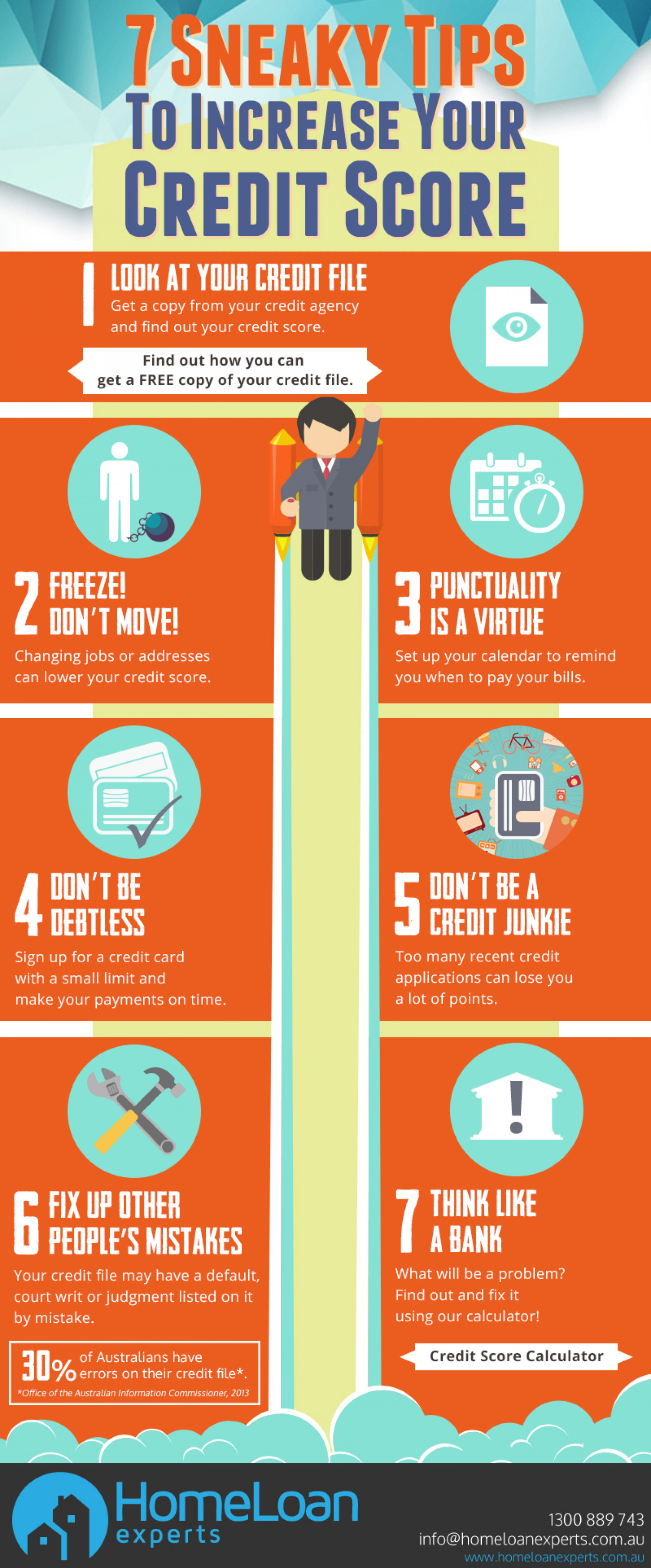 7 Sneaky Tips To Increase Your Credit Score Infographic