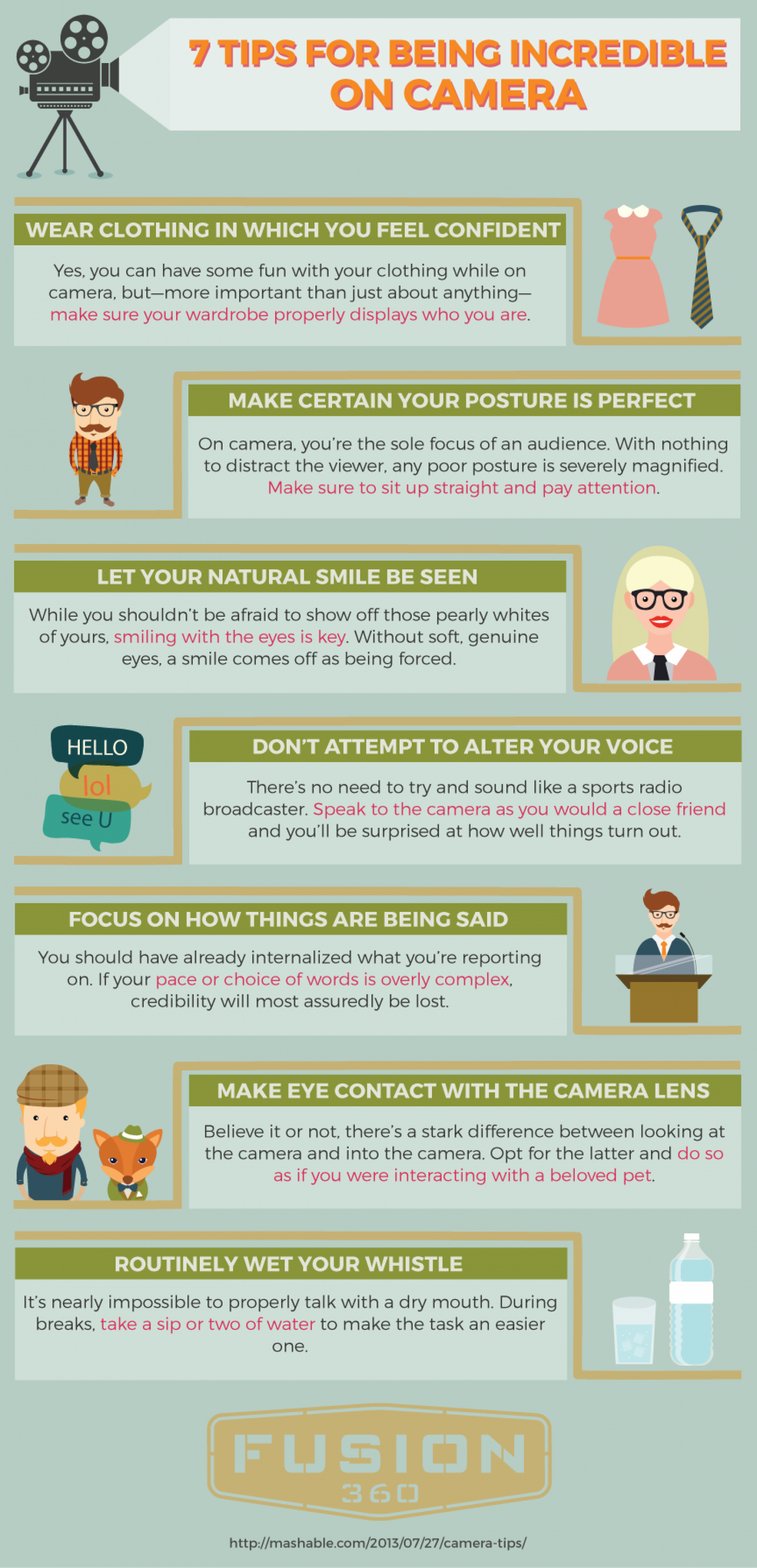 7 Straightforward Tips for Being Incredible On Camera Infographic