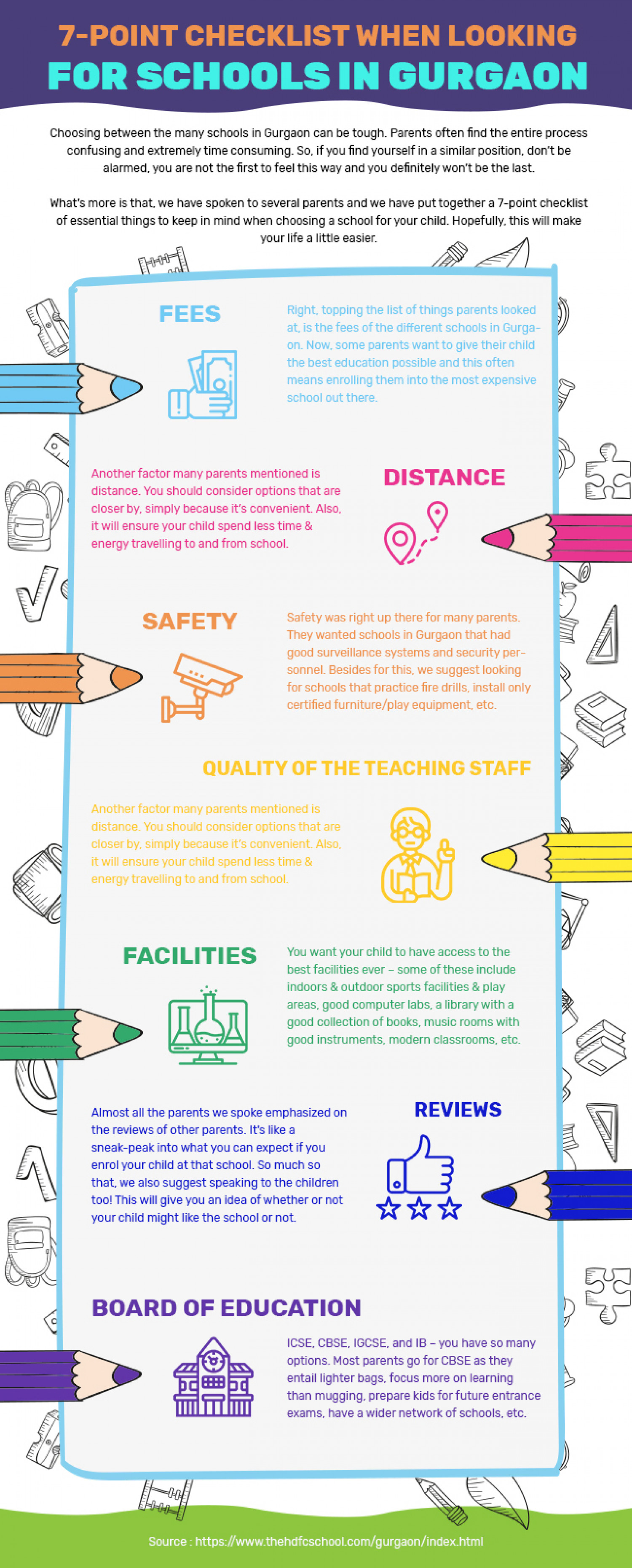 7-point checklist when looking for schools in Gurgaon. Infographic