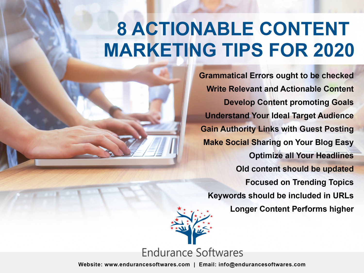 8 Actionable Content Marketing Tips for 2020 Infographic