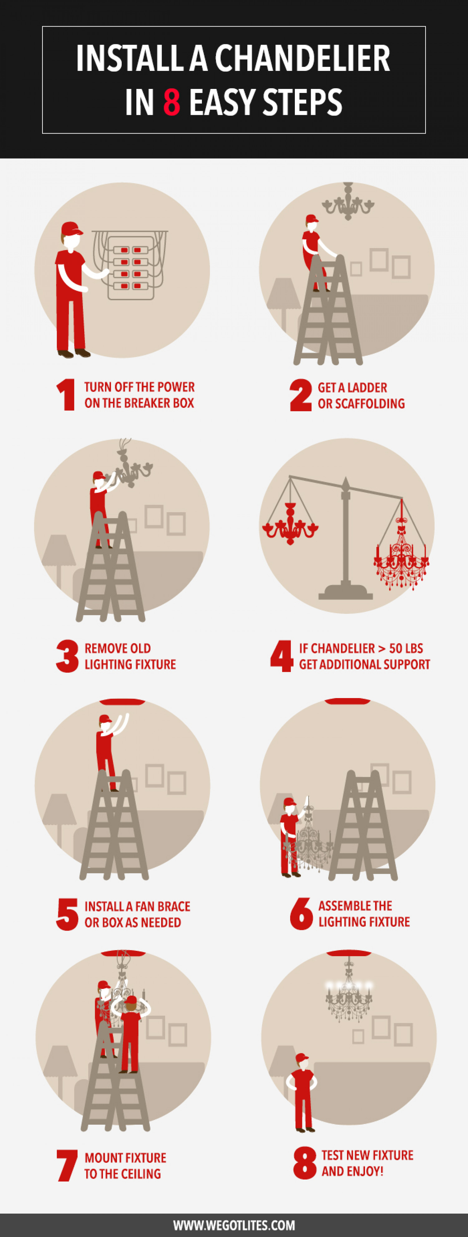 8 easy steps to install a chandelier visual 8 easy steps to install a chandelier infographic arubaitofo Choice Image