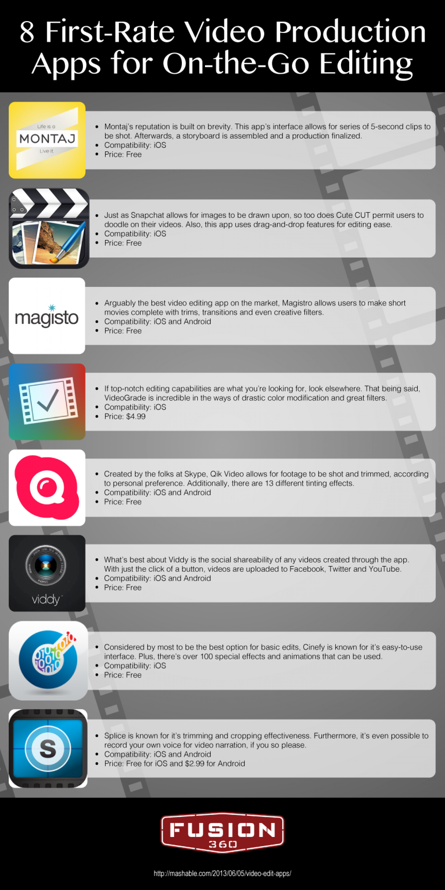 8 First-Rate Video Production Apps for On-the-Go Editing Infographic