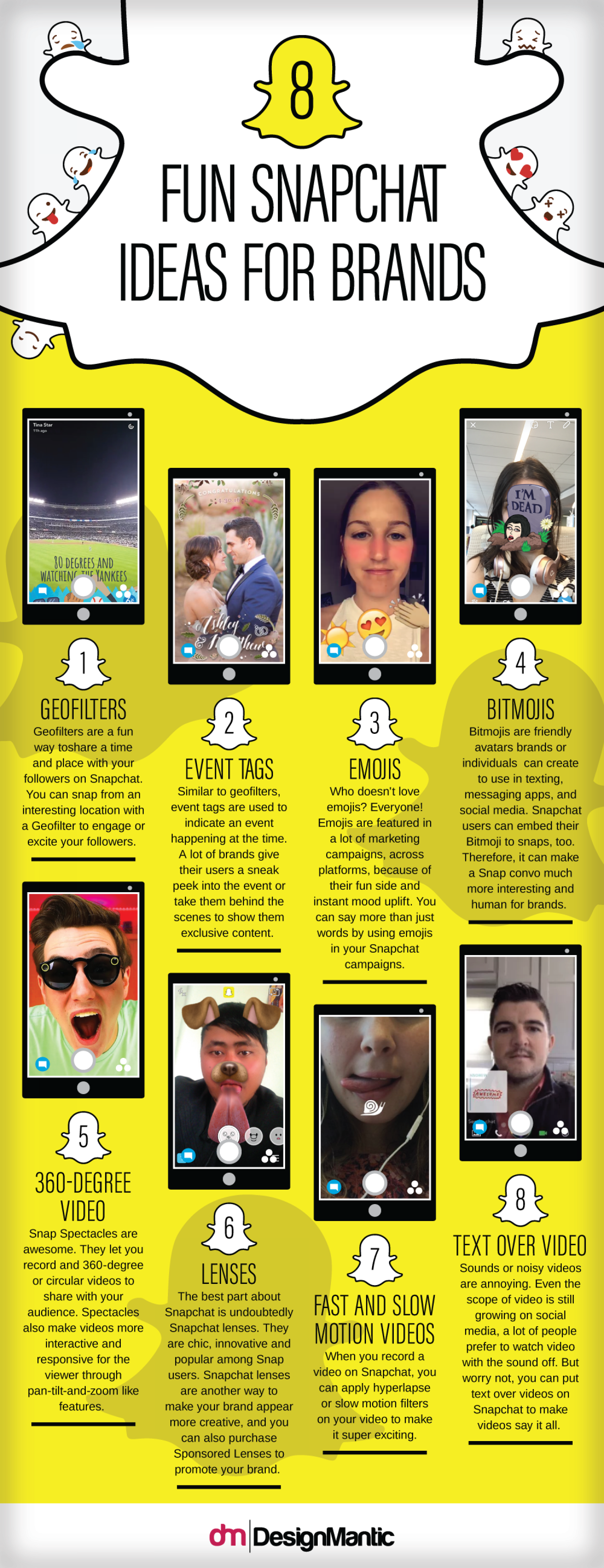 8 Fun Snapchat Ideas For Brands Infographic