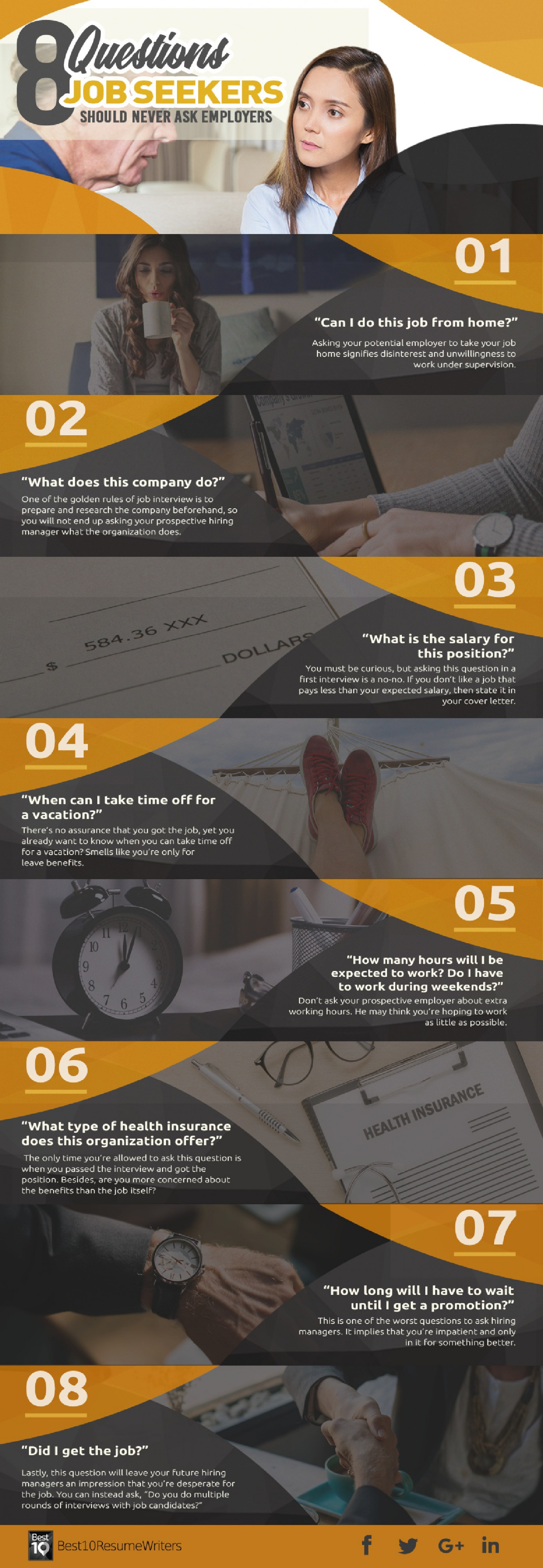 8 Questions Job Seekers Should Never Ask Employers Infographic