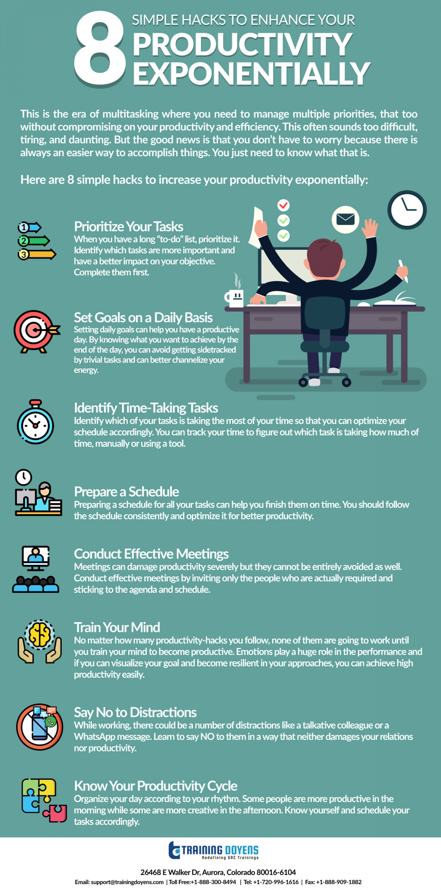 8 Simple Hacks to Enhance Your Productivity Exponentially Infographic