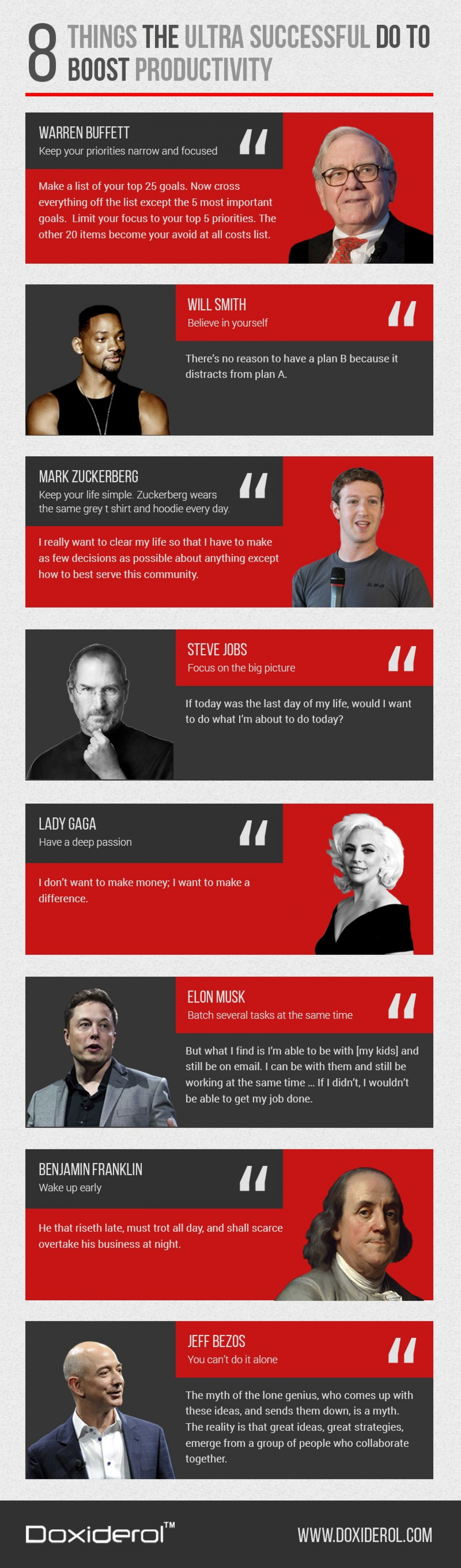 8 Things the Ultra Successful Do to improve Productivity Infographic