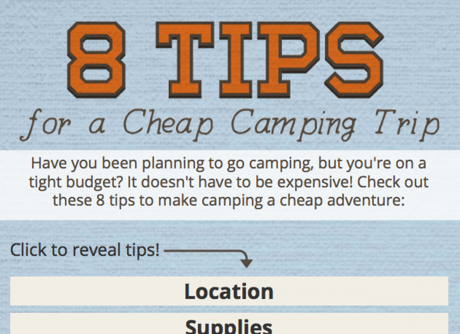 8 Tips for a Cheap Camping Trip Infographic