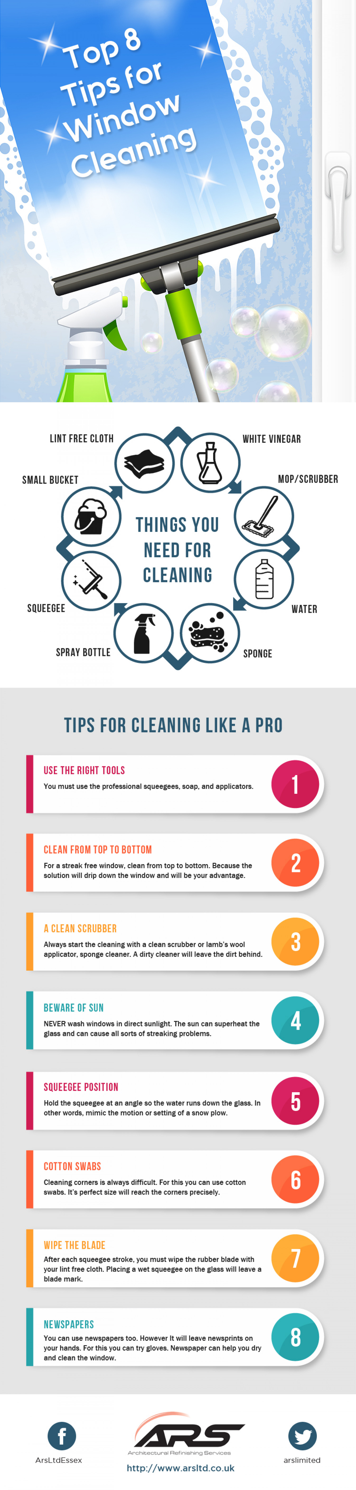 8 Tips for Window Cleaning Infographic