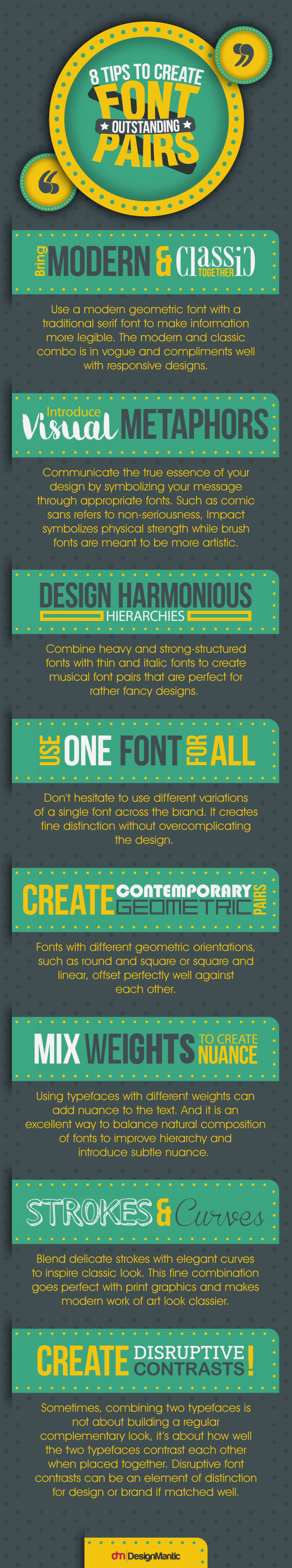 8 Tips to Create Outstanding Font Pairs Infographic
