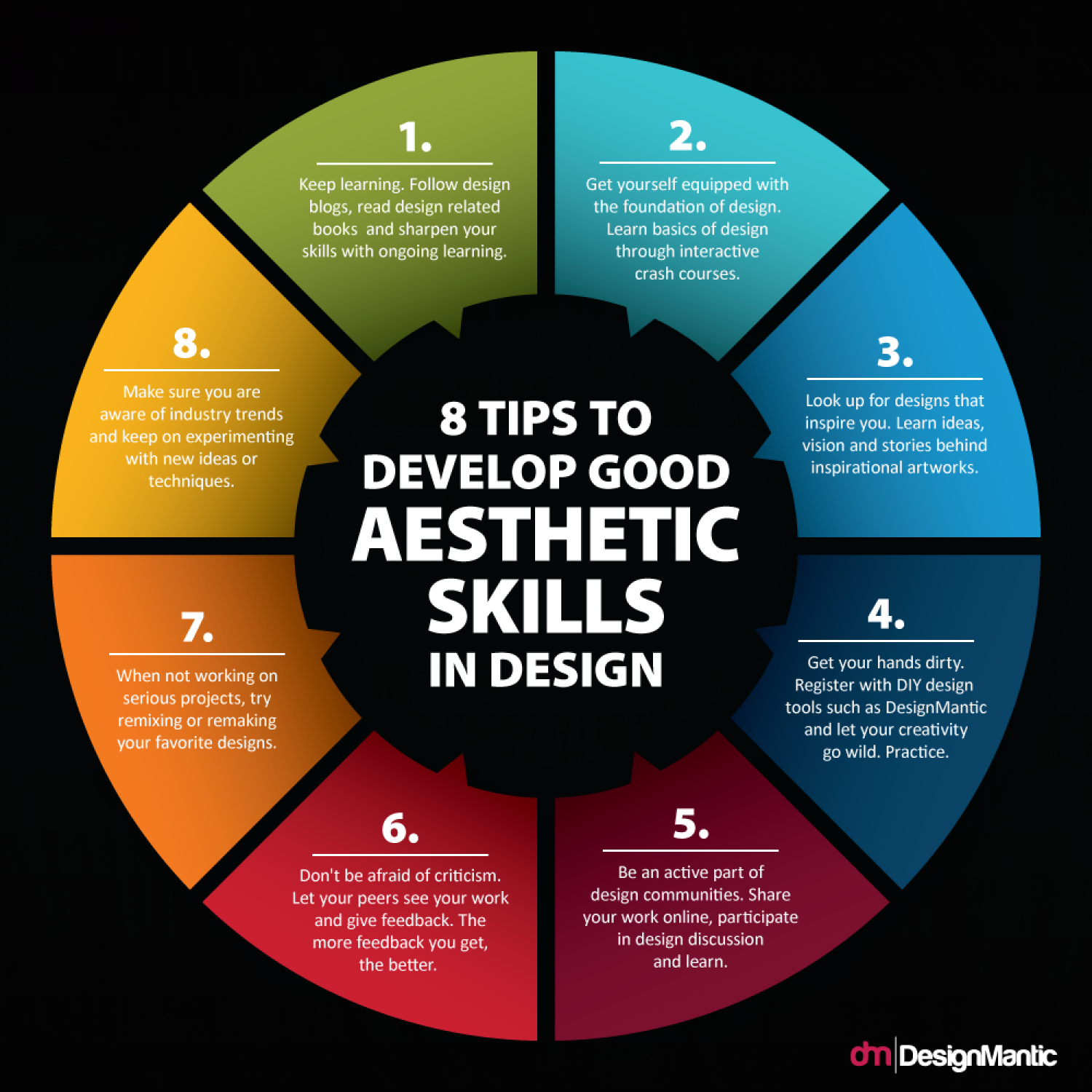 8 Tips To Develop Good Aesthetic Skills in Design Infographic