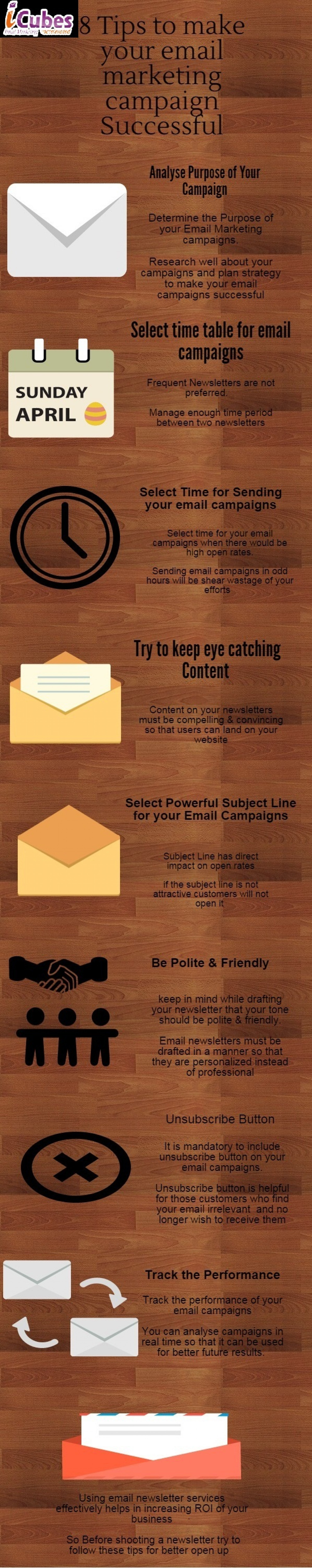 8 Tips to Make your Email Marketing Campaign Successful Infographic