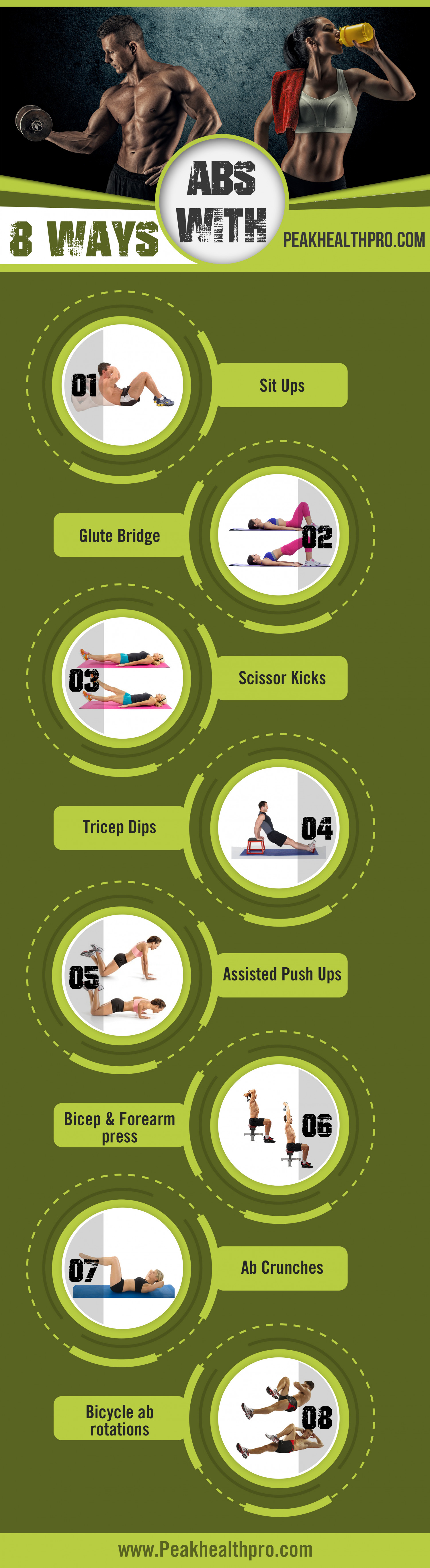 8 ways to abs Infographic