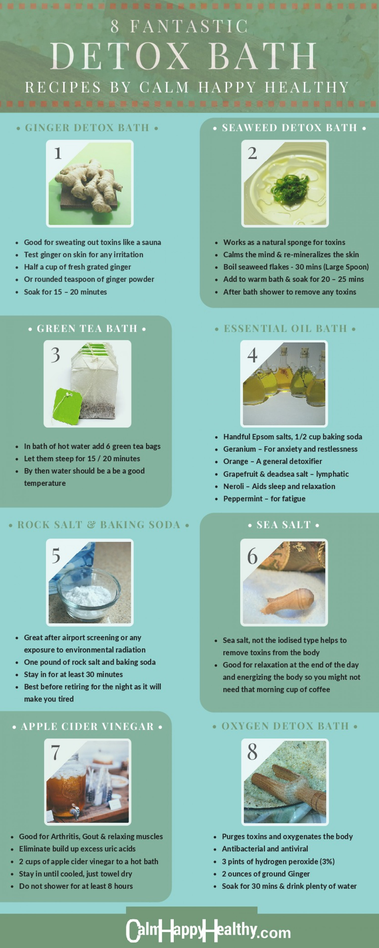 8 Fantastic Detox Bath Recipes Infographic