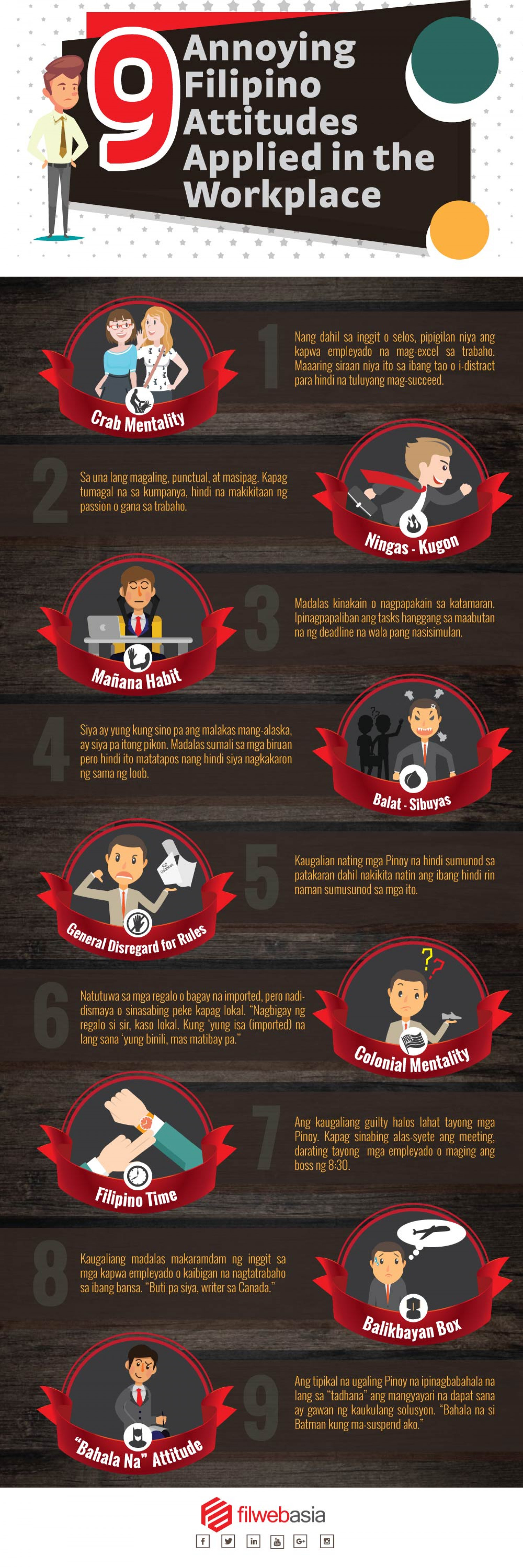 9 Annoying Filipino Attitudes Applied in the Workplace Infographic