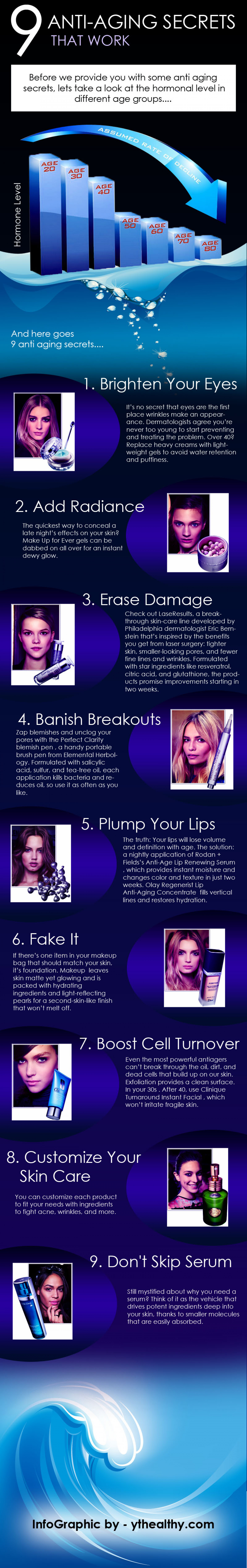 9 Anti Aging Secrets that work Infographic