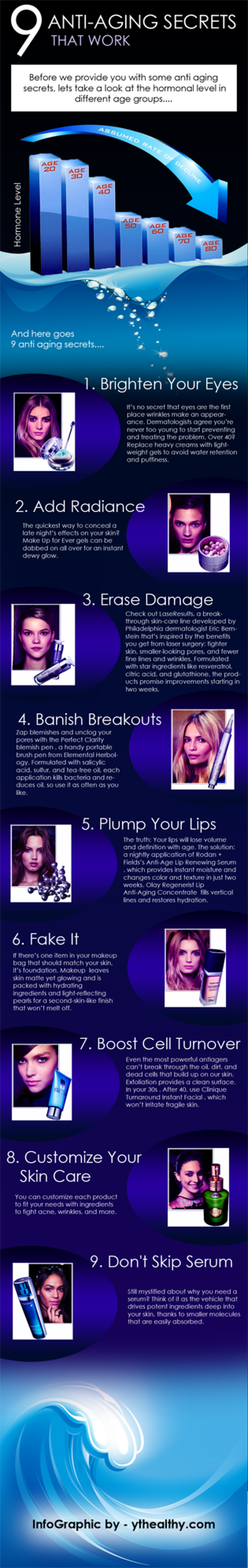 9 anti aging secrets Infographic