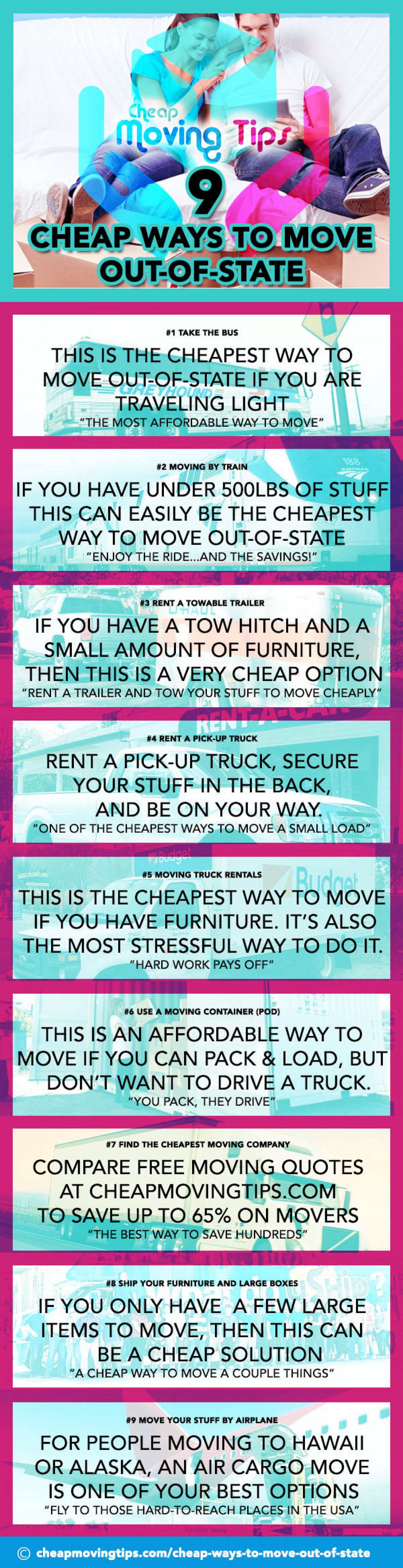 9 Cheap Ways To Move Out-of-State Infographic