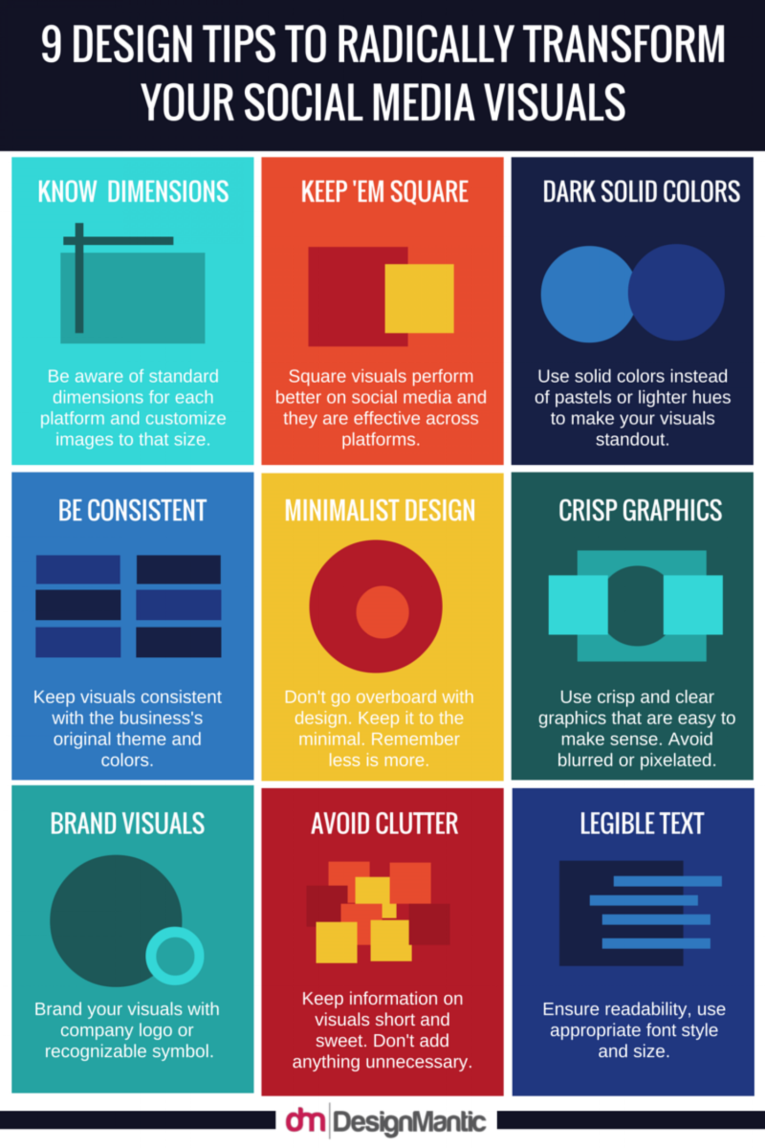 9 Design Tips To Radically Transform Your Social Media Visuals! Infographic