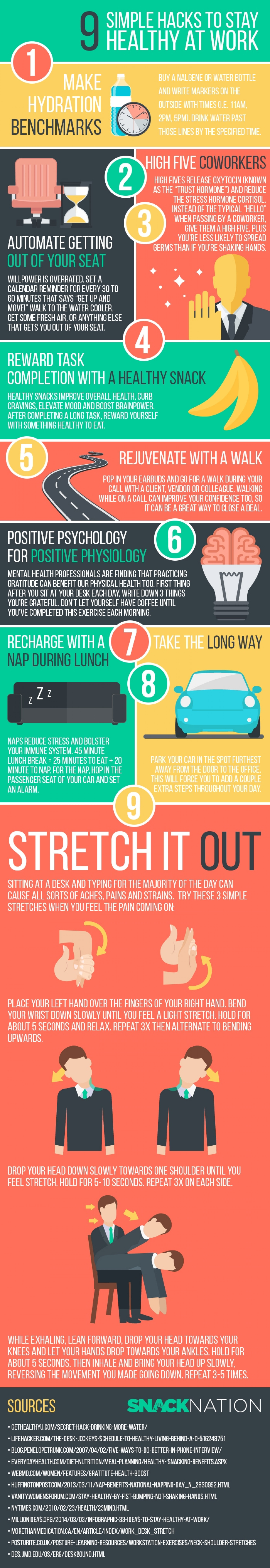 9 Easy Hacks to Stay Healthy at Work Infographic