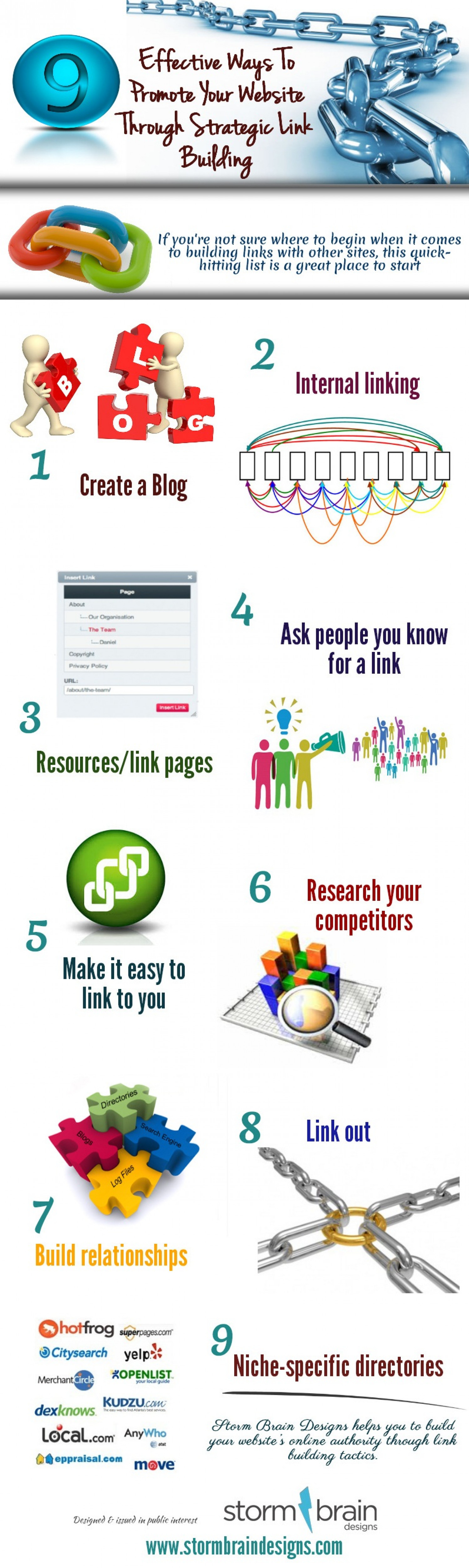9 Effective Ways To Promote Your Website Through Strategic Link Building Infographic