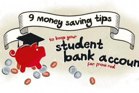 9 Money Saving Tips to Keep your Student Bank Account Far From Red Infographic