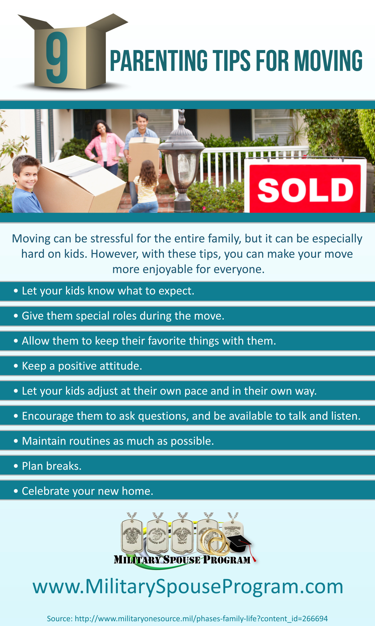 9 Parenting Tips for Moving Infographic