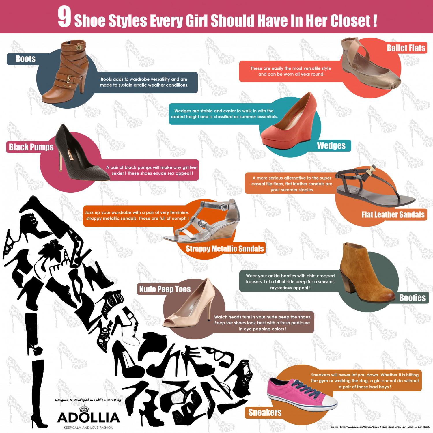 9 Shoe Styles Every Girl Should Have In Her Closet Infographic