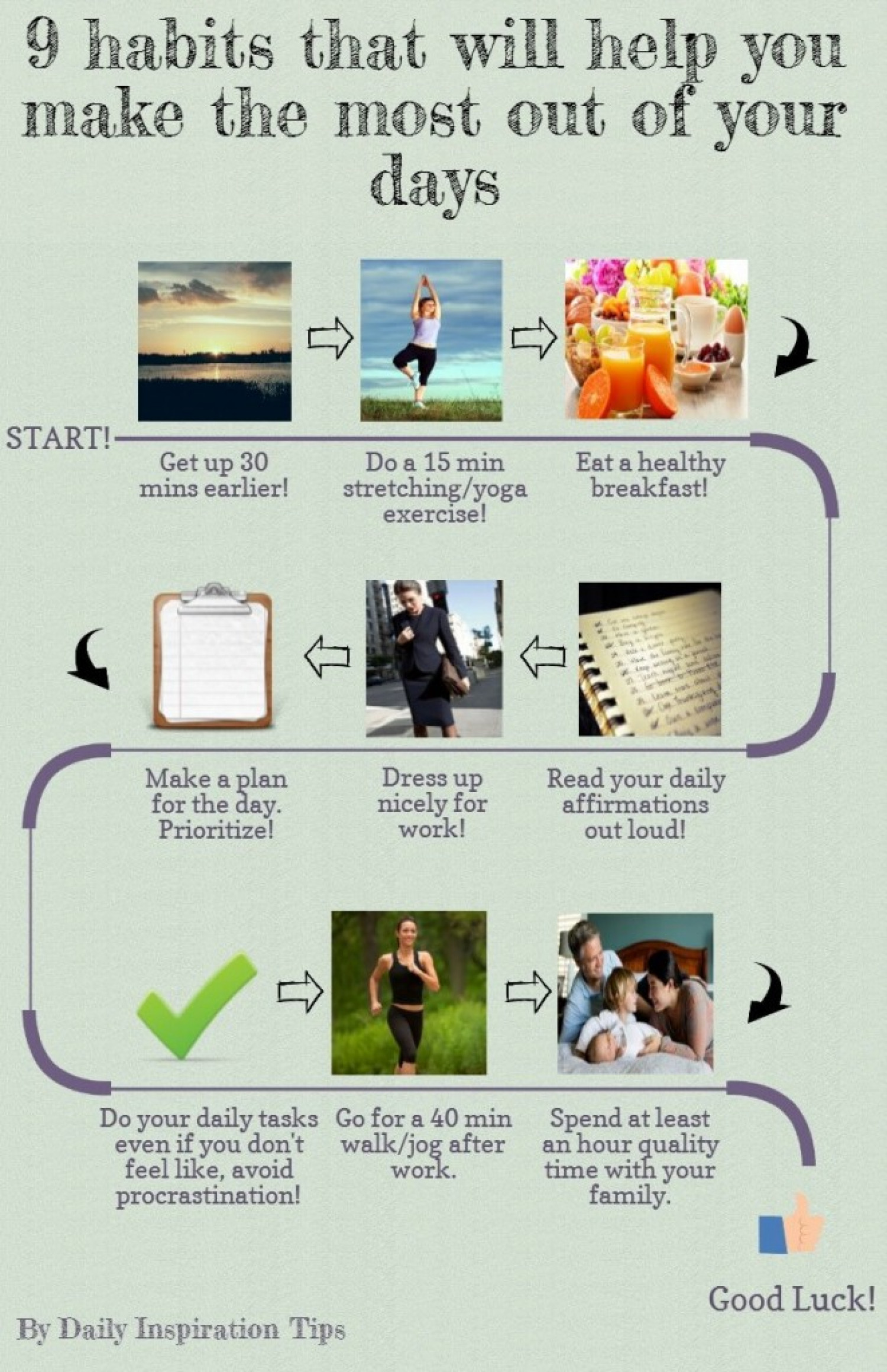 9 Success Habits to Make the Most out of Your Days Infographic
