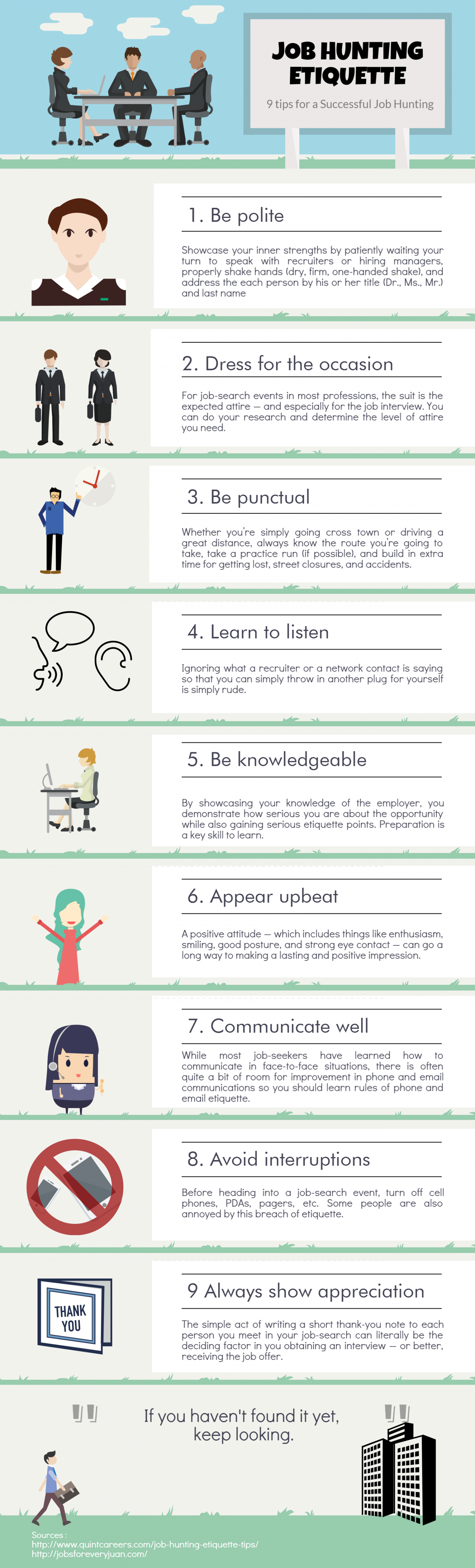 9 Tips for Job Hunting Etiquette Infographic
