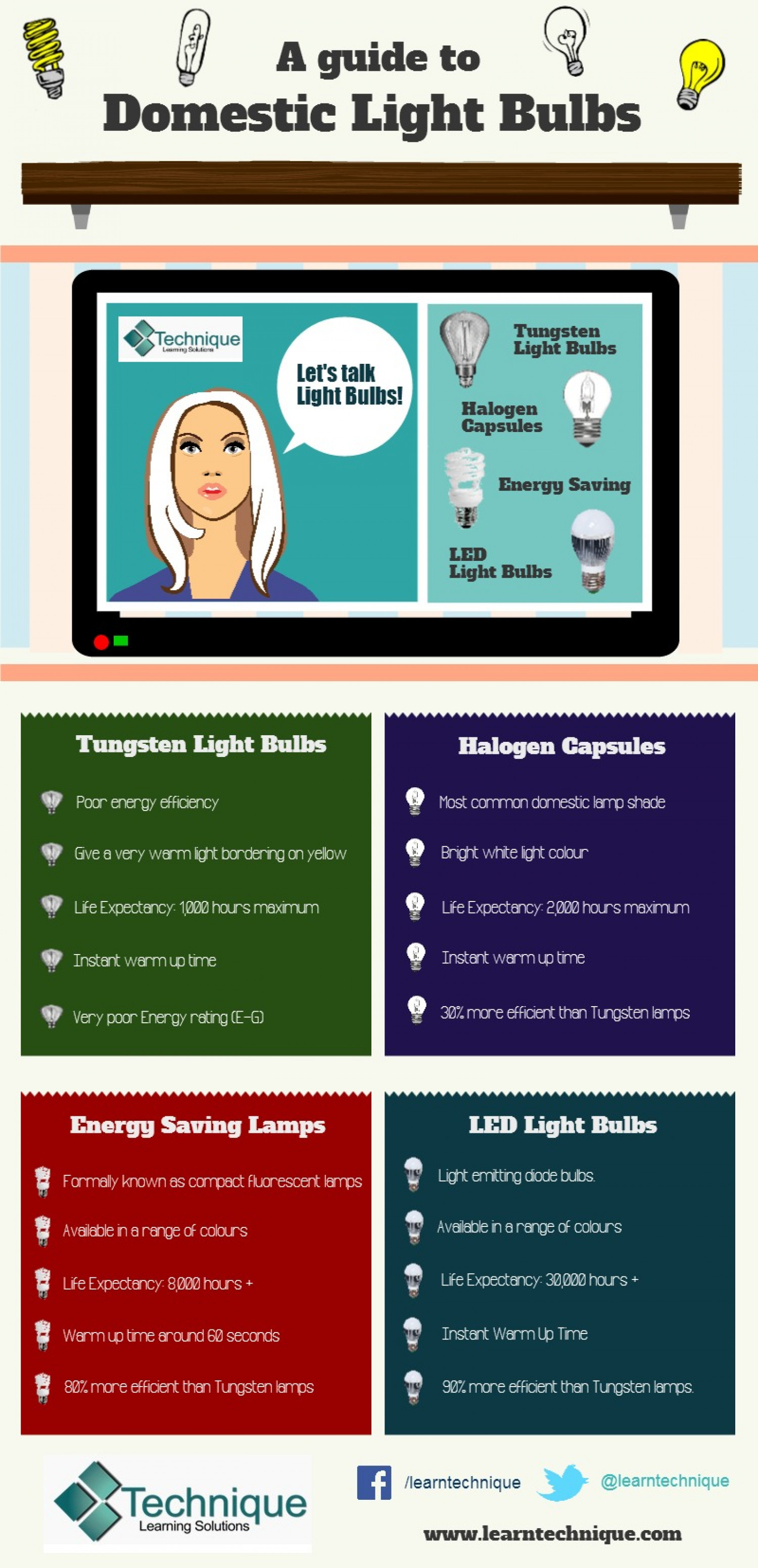 A Guide to Domestic Light Bulbs Infographic