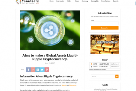 Aims to make a Global Assets Liquid- Ripple Cryptocurrency Infographic