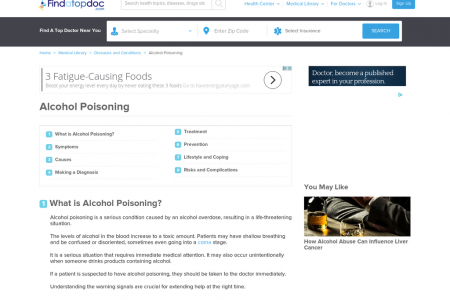 Alcohol Poisoning: Symptoms, Causes, Treatment, and Diagnosis Infographic