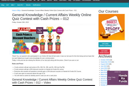 Answers for online GK QUIZ-12 Infographic