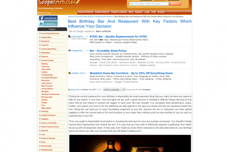 Best Birthday Bar And Restaurant With Key Factors Which Influence Your Decision Infographic