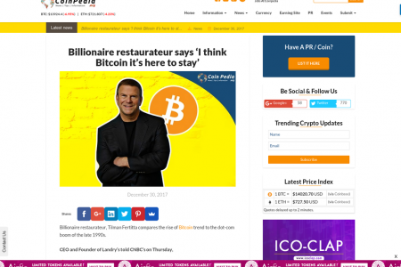 Billionaire restaurateur says 'I think Bitcoin it's here to stay' Infographic