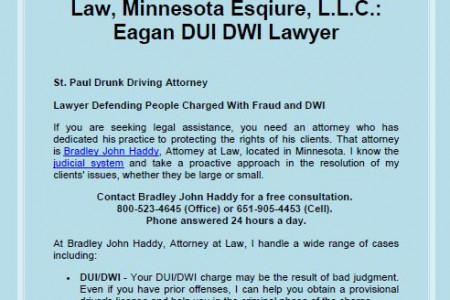 Bradley John Haddy Attorney At Law, Minnesota Esquire, L.L.C.: Eagan DUI DWI Lawyer Infographic