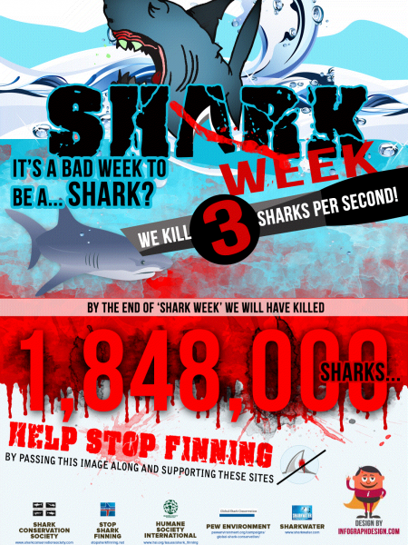 By The End of Shark Week We Will Have Killed 1,848,000 Sharks! Infographic