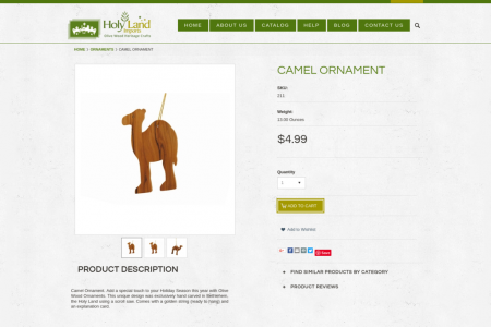 Camel Ornament - Holy Land Imports Infographic