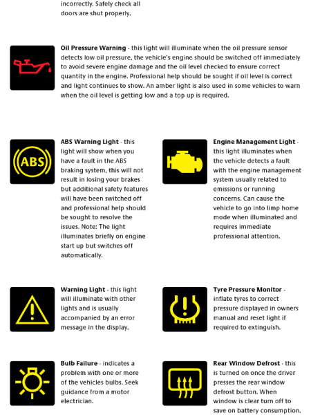 Car Dashboard Warning Lights - Understanding What They Mean