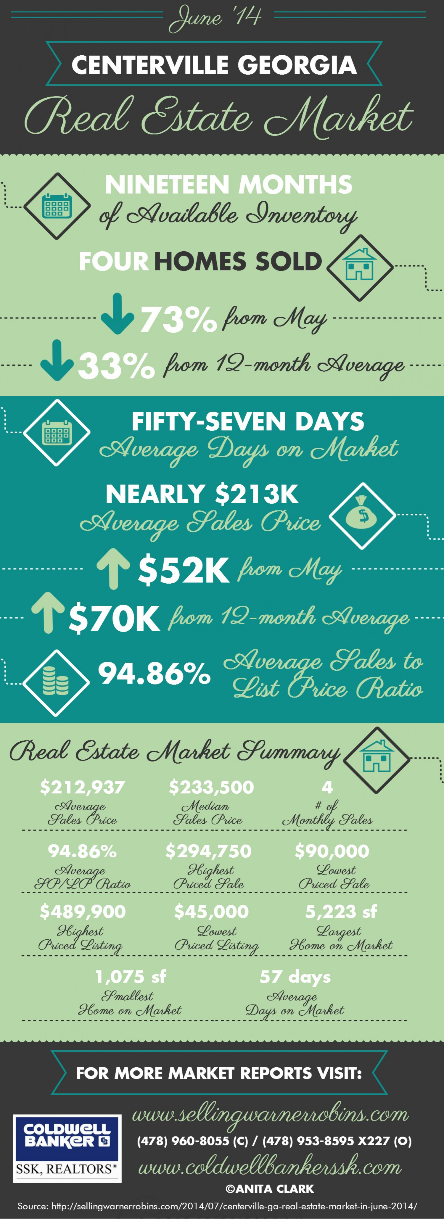 Centerville GA Real Estate Market in June 2014 Infographic