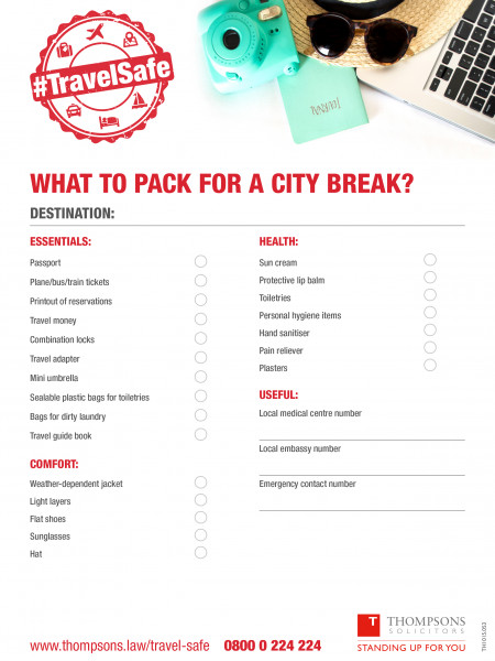 Checklist: What to Pack for a City Break Infographic