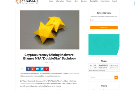 Cryptocurrency Mining Malware- Blames NSA 'DoubleStar' Backdoor Infographic