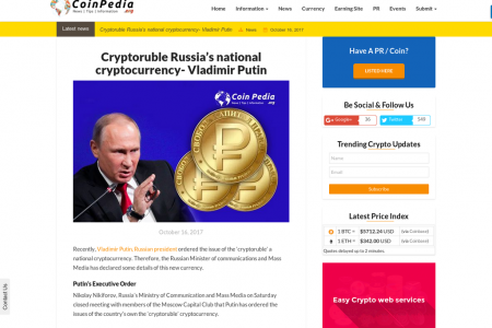 Cryptoruble Russia's national cryptocurrency- Vladimir Putin Infographic