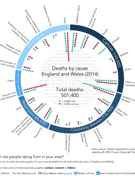 Death by cause for England and Wales Infographic